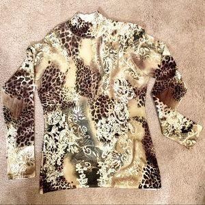 Caché mock neck pattern sweater size L